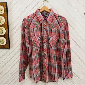 NWT 1980s Vintage Pearl Snap Plaid Western Shirt